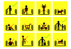 Yellow Escalator Sign Vector