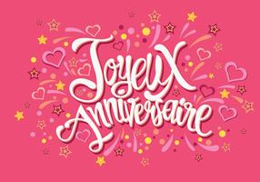 Happy Birthday in French Joyeux Anniversaire Vector