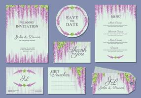 Wisteria Wedding Template Vector