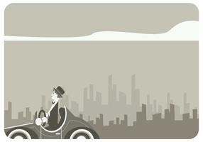 Charlie Chaplin Driving Classic Car Vector