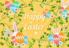 Decorative Easter Egg With Rabbit Background