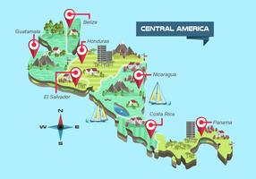 Central America Detailed Map Vector Illustration