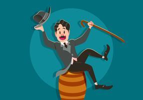 Charlie Chaplin Sits On A Barrel