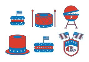 Independence Day July 4th Icon Vector Set