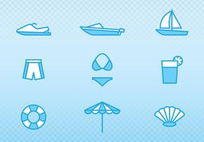 Holiday And Summer Outline Icons