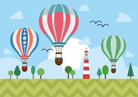 Hot Air Balloons Over Lighthouse Vector Design