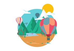 Mountain Hot Air Balloon Vector Illustration