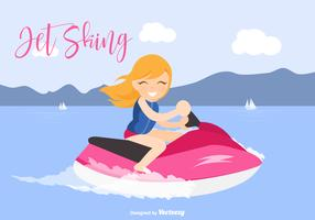 Blonde Young Girl Riding A Jet Ski