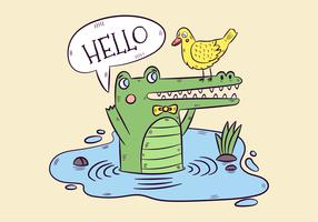 Cute Green Alligator And Yellow Duck With Speech Bubble