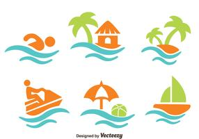 Beach Vacation Element Vectors