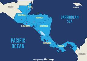 Blue Central America Map Vector