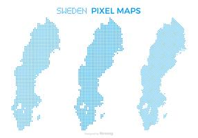 Pixel Sweden Map Vector Set