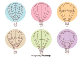 Hot Air Balloon Line Collection Vectors