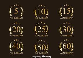 Golden Anniversary Badge Collection Vectors