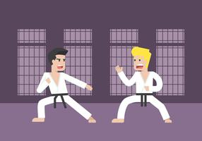Two Men Practicing Martial Arts Illustration
