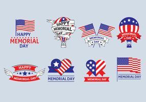 Set of Memorial Day Label Vectors