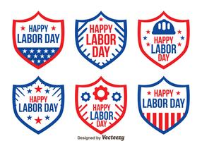 Shield Badge Labor Day Vectors