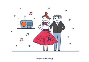 Retro Couple Vector
