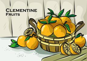 Clementine On Basket Vector Illustration