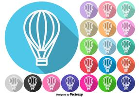 Hot Air Balloon Buttons Vector Set