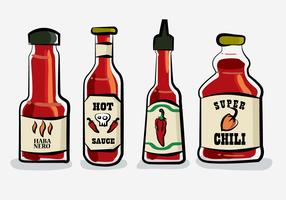 Hot Chili Sauce Bottle Habanero Vector Illustration