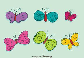 Hand Drawn Colored Butterfly Collection Vectors