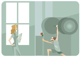 Man With Big Barbel Giving Rose to Physiotherapist Vector