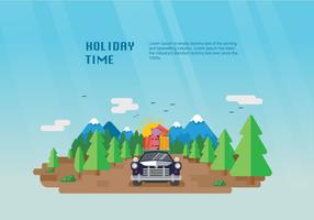 Happy Holiday Carpool Vector Flat Illustration