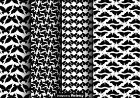 Black Butterfly Icons Seamless Pattern Set - Vector
