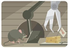 A Mouse Tries to Hack a Mouse Trap with Laptop and Robot Vector