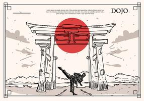 Japanese Historical Building Dojo Hand Drawn Vector Illustration