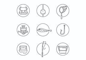Thin Line Fishing Equipment Icons