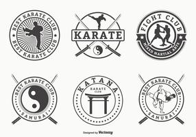 Retro Martial Arts And Karate Vector Badges