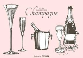 Fizz Champagne Flutes, Bottles And Bucket Vector Illustration