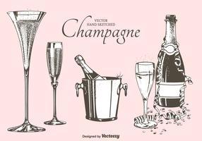 Fizz Champagne Flutes, Bottles And Bucket Vector Illustration