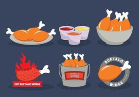 Buffalo wings vector illustration set