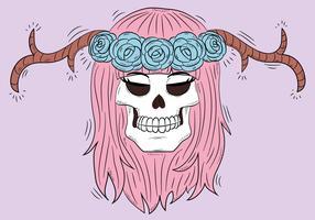 Cute Skull With Horns And Pink Hair