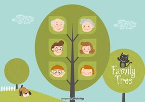 Cute Cartoon Family Tree Vector