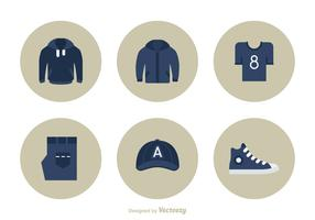 Casual Clothes Flat Vector Icon Set