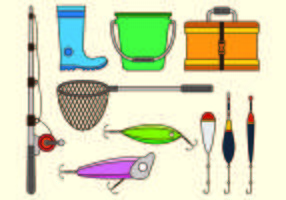 Set Equipment Icon Of Fishing Tackle