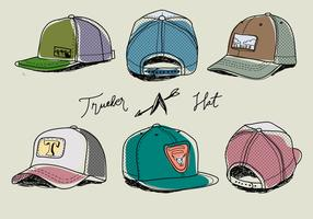 Hand Drawn Colorful Trucker Hat Vector Illustration
