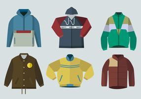 Color Windbreaker Jacket Flat Vector Illustration