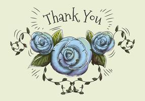Hand drawn and watercolor illustration of blue roses and leaves to say thank you.