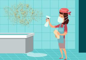 Woman Cleaning Mold Vector