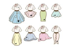 Poodle Skirt Outfit Vectors