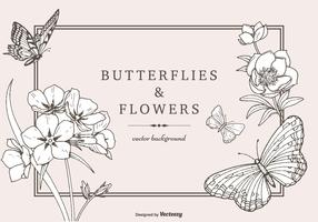 Hand Drawn Butterflies And Flowers Vector Background