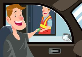Man Paying Money At A Toll Booth Vector