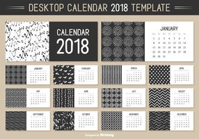 Monthly Desktop Calendar 2018 Vector Template