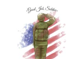 Watercolor American Flag And Veteran American Soldier