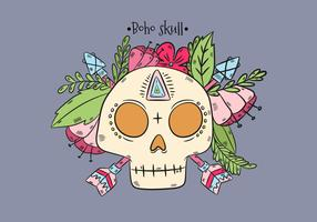 Boho Skull With Leaves And Pink Flowers And Arrows